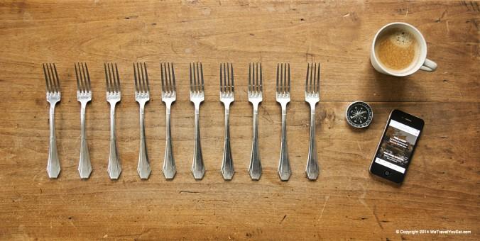 spécialités d'Europe de l'est, pologne, autriche, hongrie, suisse, slovaquie, table avec 10 fourchettes, voyage