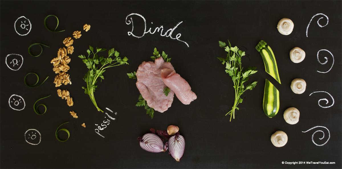 ingrédients pour rouleaux de dinde garnis de courgettes, oignons, noix