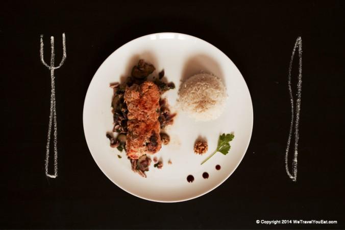 rouleaux de dinde garnis de courgettes, oignons, noix