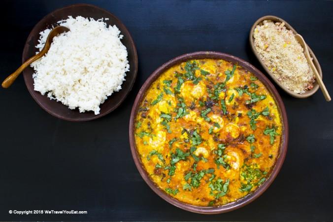 moqueca, plat de poisson, cabillaud, brésil, brésilien , recette, farofa, crevettes
