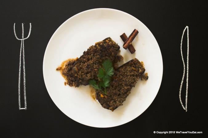 aubergines, agneau, haché, viande haché, pignon de pin, israel, recette, israélienne,aubergines au four