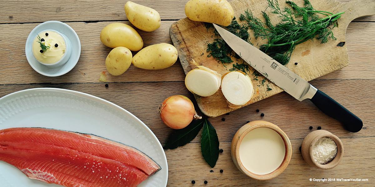 ingrédients, soupe, finlande, russie, Carélie, poisson, saumon, truite, crème, aneth, pommes de terres